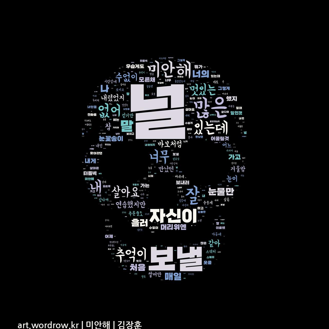 워드 클라우드: 미안해 [김장훈]-42